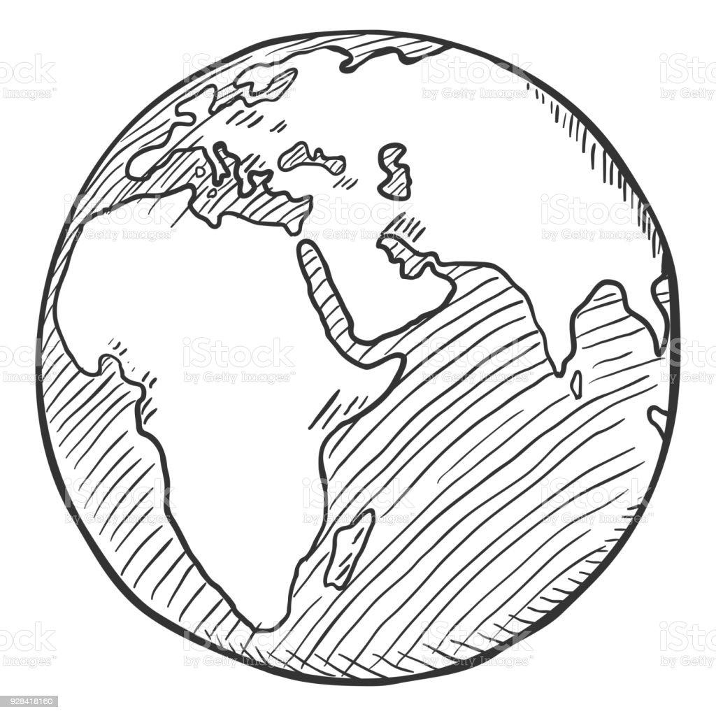 Vector único boceto negro mundo ilustración - ilustración de arte vectorial