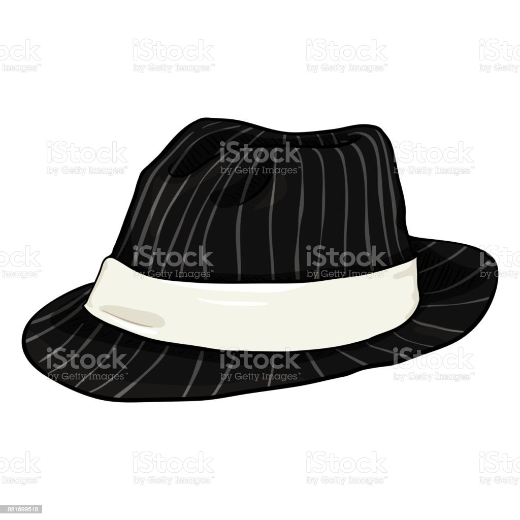 Vector Single Cartoon Black Fedora Hat with Gray Stripes and White Ribbon vector art illustration
