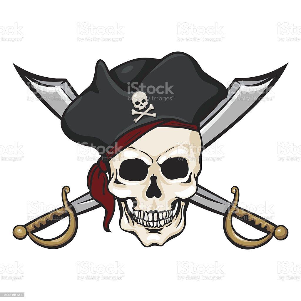 Immagini Di Teschio Pirati singolo vettore fumetto di teschio pirata in tricorn con