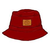 Vector Single Red Cartoon Panama Hat. Front View. Urban Fashion.