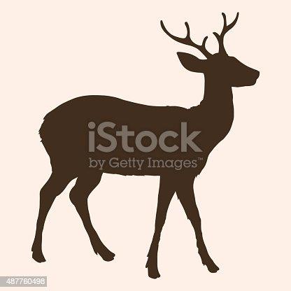 istock Vector Single Silhouette of Dappled Deer 487760498
