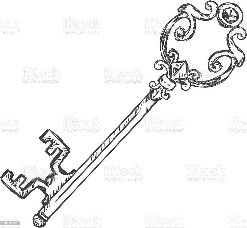 Vector single sketch antique key stock vector art for Classic house keys samplephonics
