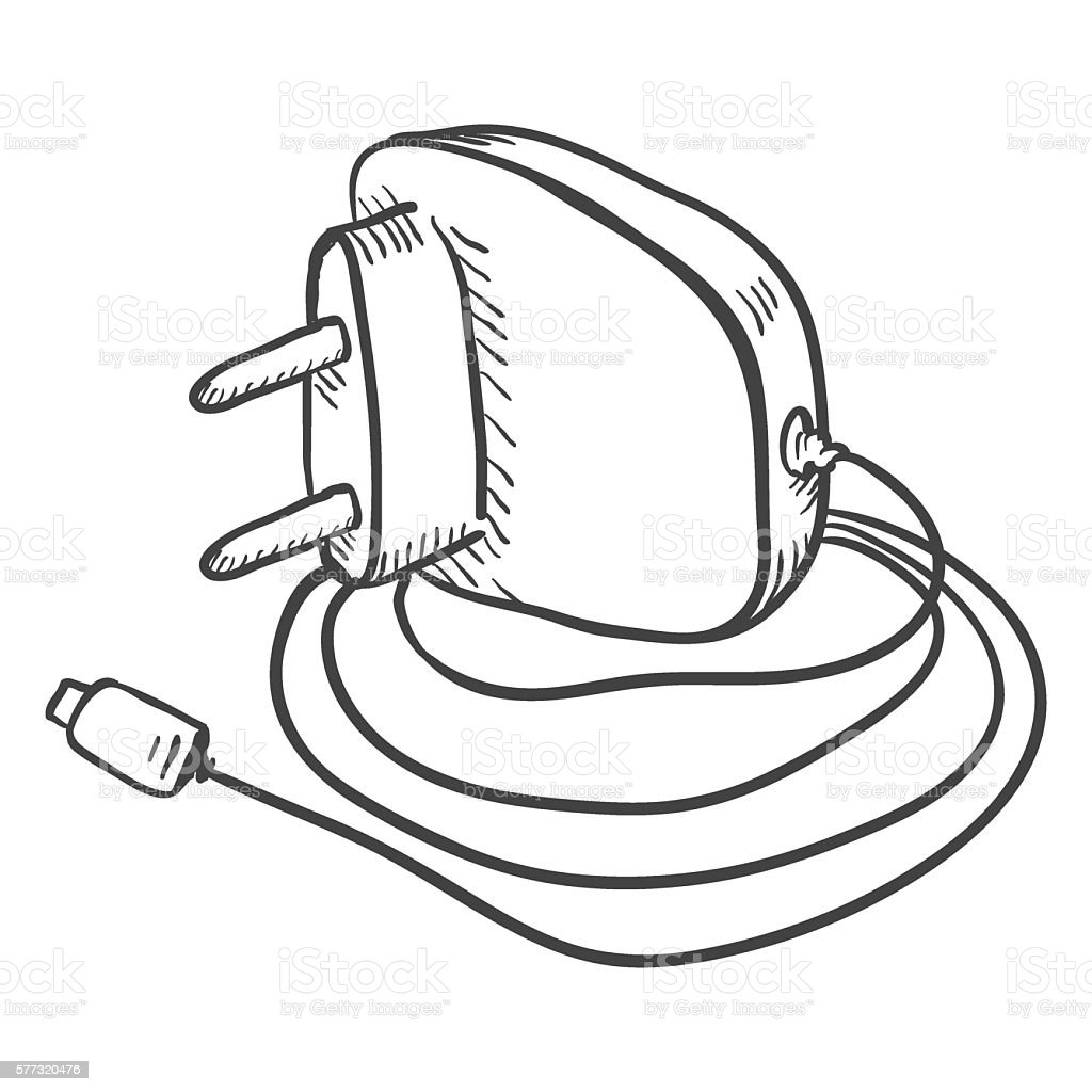 vector single sketch charger for mobile phones stock
