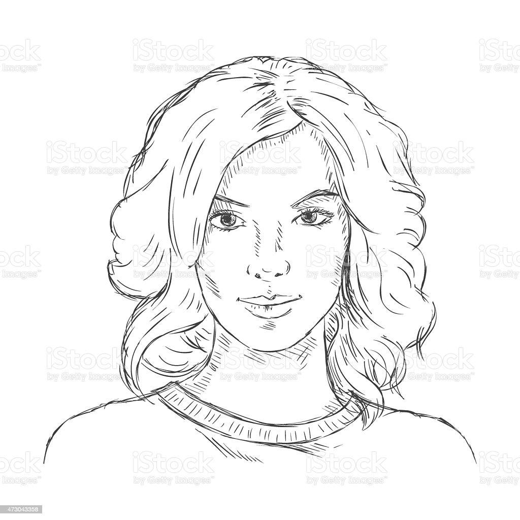 Vetor Desenho Unico Rosto Feminino Mulheres De Estilo De Cabelo