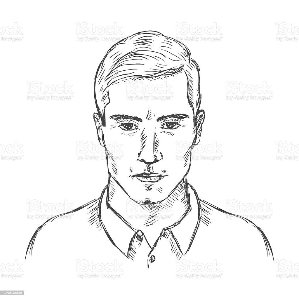 Vetor Desenho Unico Rosto Masculino Homens Estilo De Cabelo Arte