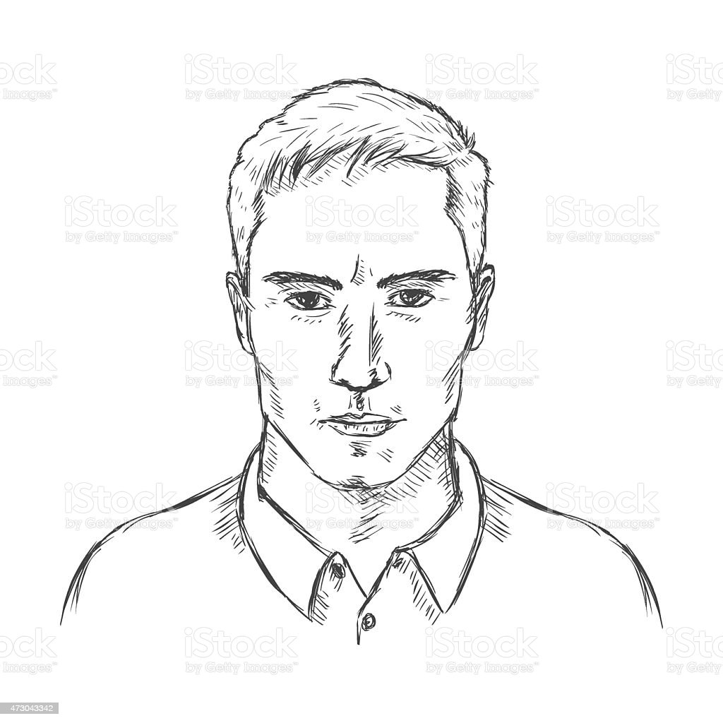 Vector single sketch male face men hairstyle illustration