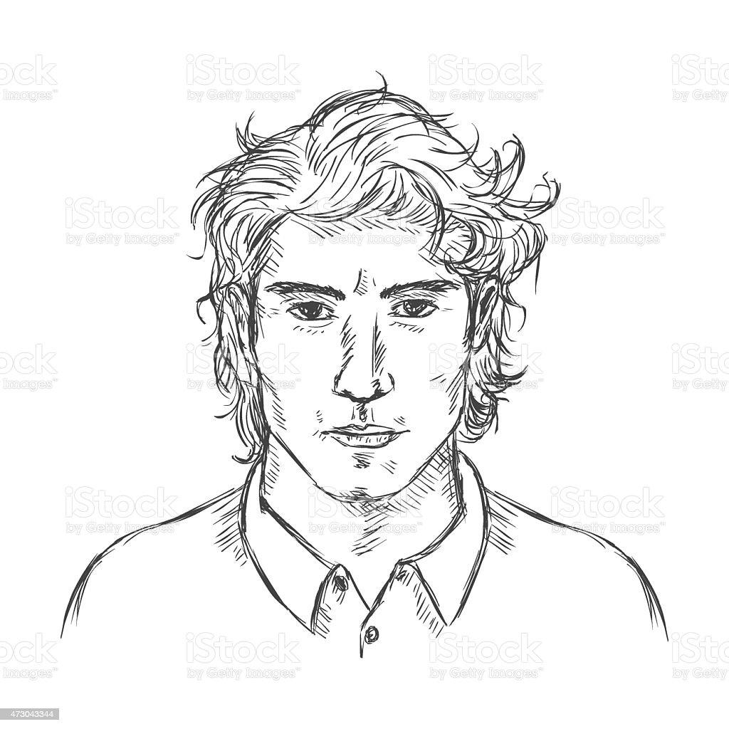 Vector Single Sketch Male Face Men Hairstyle Stock Vector Art More