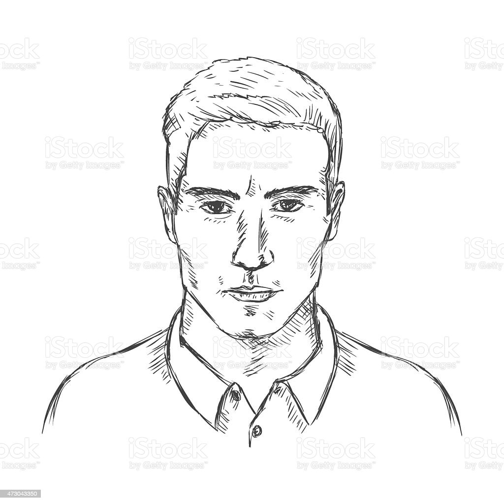 Vector Single Sketch Male Face Men Hairstyle Stock