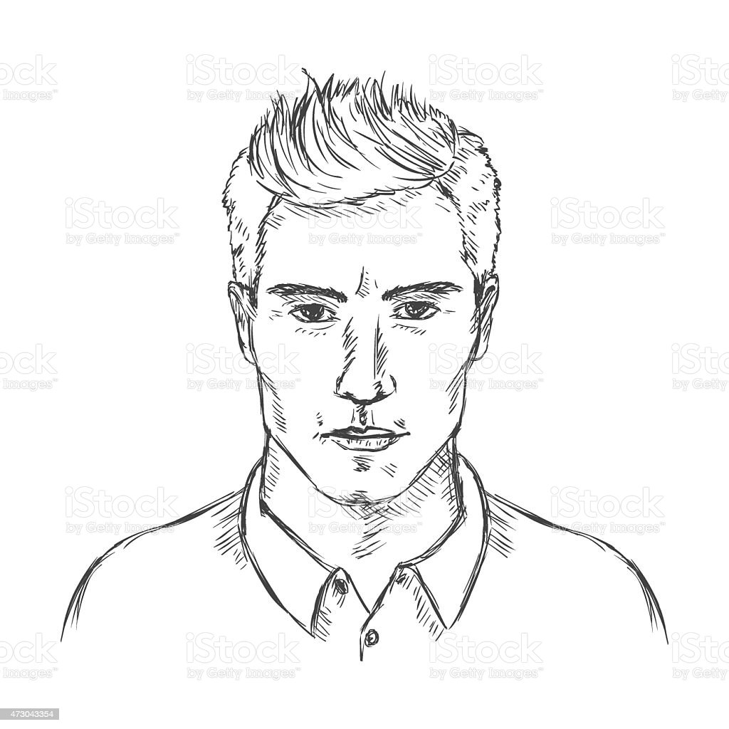 Man S Face Line Drawing : Vector single sketch male face men hairstyle stock