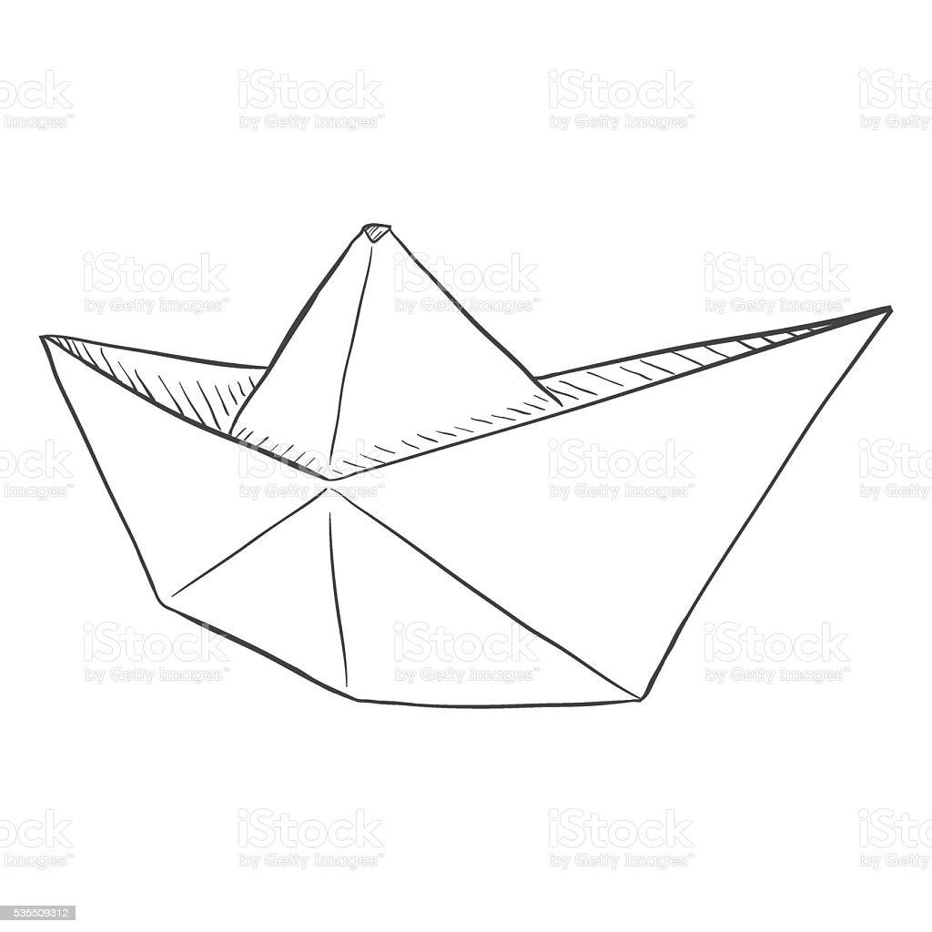Singola Vettoriale Schizzo Barchetta Di Carta Immagini Vettoriali