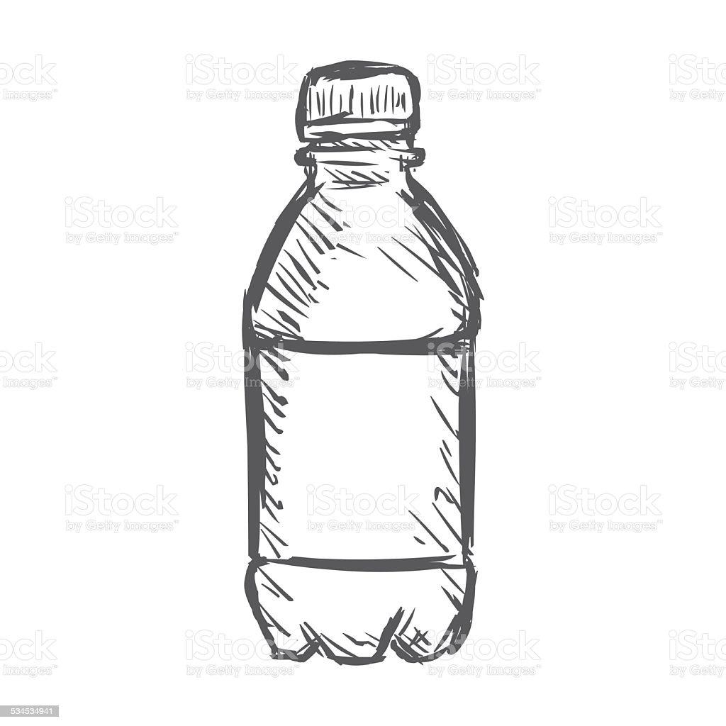 Line Art Juice : Vector single sketch plastic bottle of water stock