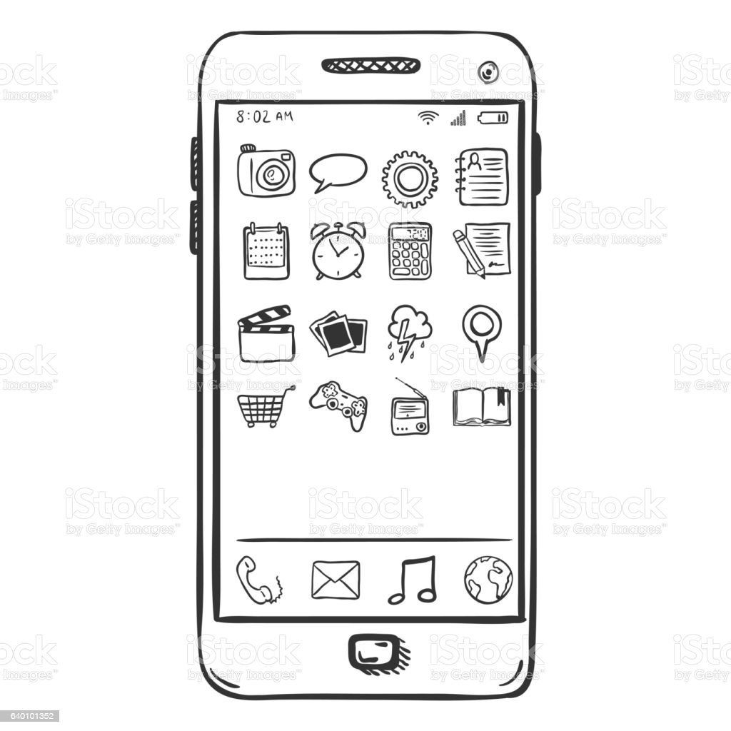 Vector Single Sketch Smartphone with Mobile Icons vector art illustration