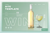 Vector site template with wine bottle and glass