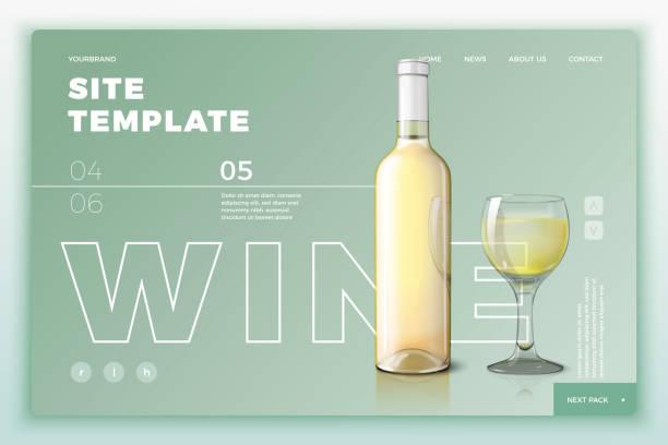 ワインボトルとガラスを使用したベクターサイトテンプレート - webサイト点のイラスト素材/クリップアート素材/マンガ素材/アイコン素材