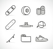 Vector skateboard accessories icons set