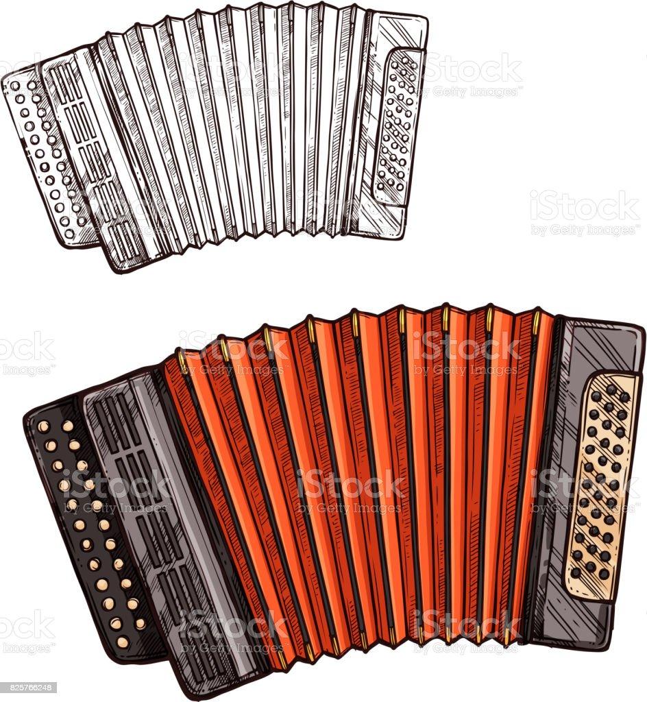 Vector Skizze Akkordeon Musikinstrument – Vektorgrafik
