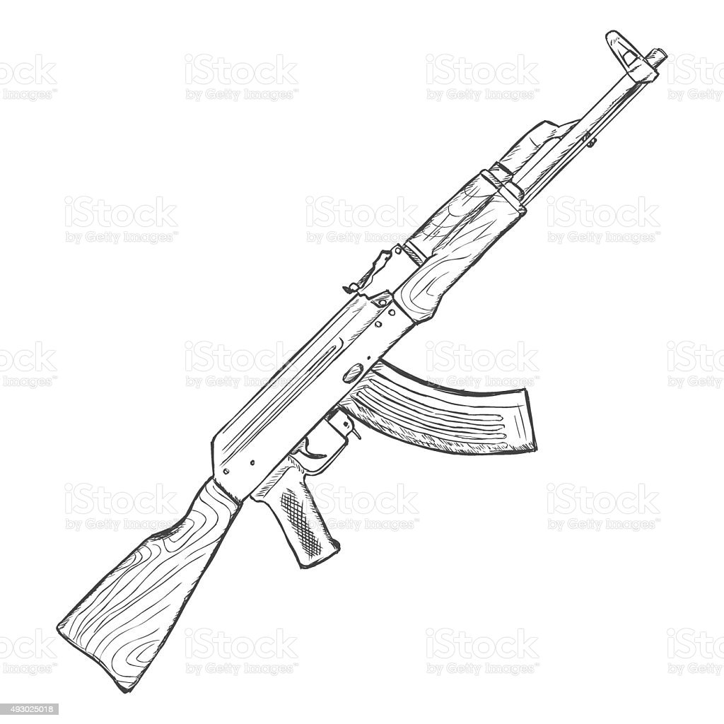 This is a photo of Unusual Drawing Of Ak 47