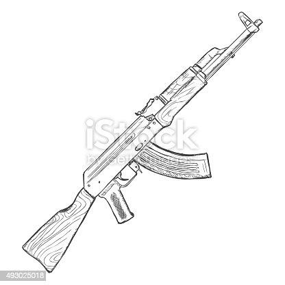 Vector sketch ak47 machinegun stock vector art more for Ak 47 coloring pages
