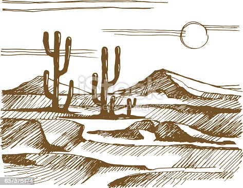 Vector sketch America. Landscape with cactus on the background of mountains.