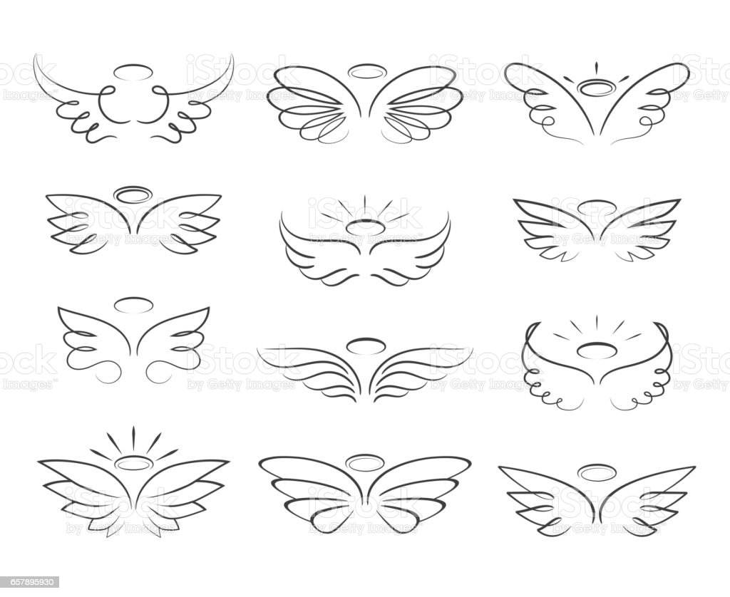 Vector sketch angel wings in cartoon style isolated on white background
