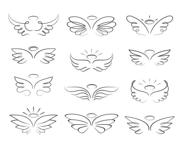 Vector sketch angel wings in cartoon style isolated on white background vector art illustration