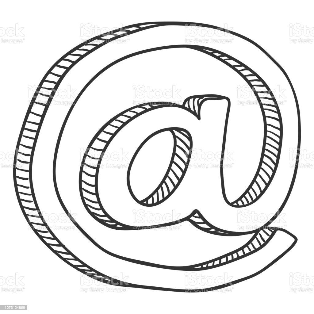 Croquis de vecteur au symbole. Icône d'email - Illustration vectorielle