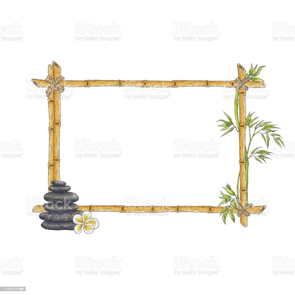 Faire Un Tableau Avec Des Galets trame de bambou de croquis de vecteur avec le galet zen