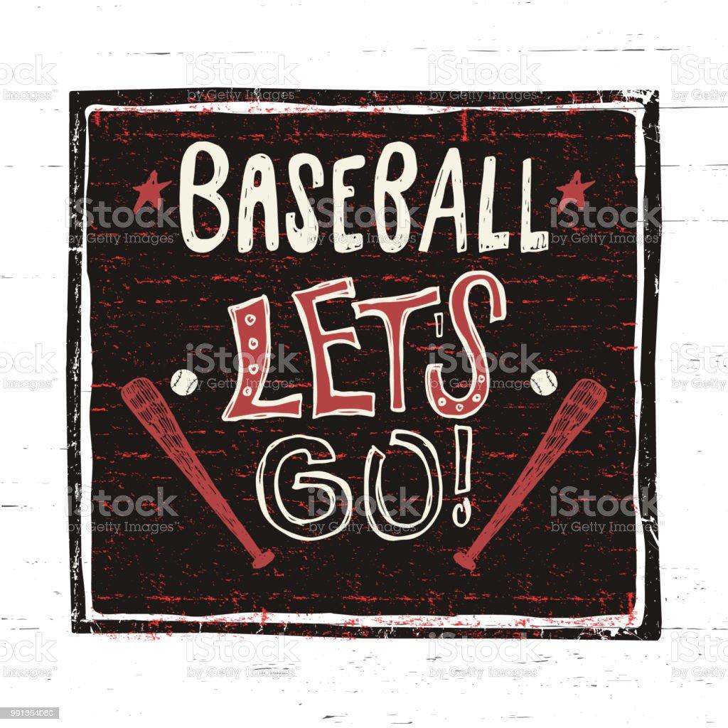 Vektorskizze Baseball Lass Uns Gehen Motivational Zu Formulieren Von ...