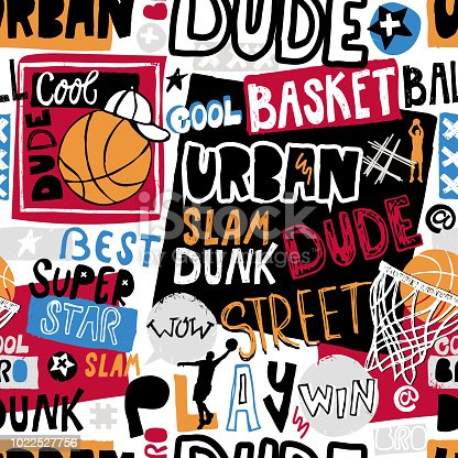istock Vector sketch basketball seamless pattern for boys, cool dude, bro, urban. Hand-drawing lettering, slogan. Print grunge design for T-shirts, banners, flyers, children's party, clothes, social media. 1022527756