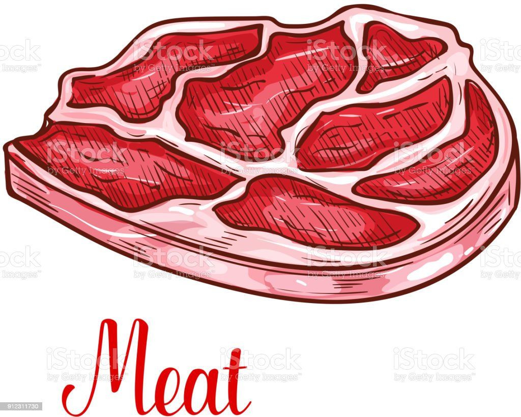 Vector sketch beef steak meat lump icon vector art illustration