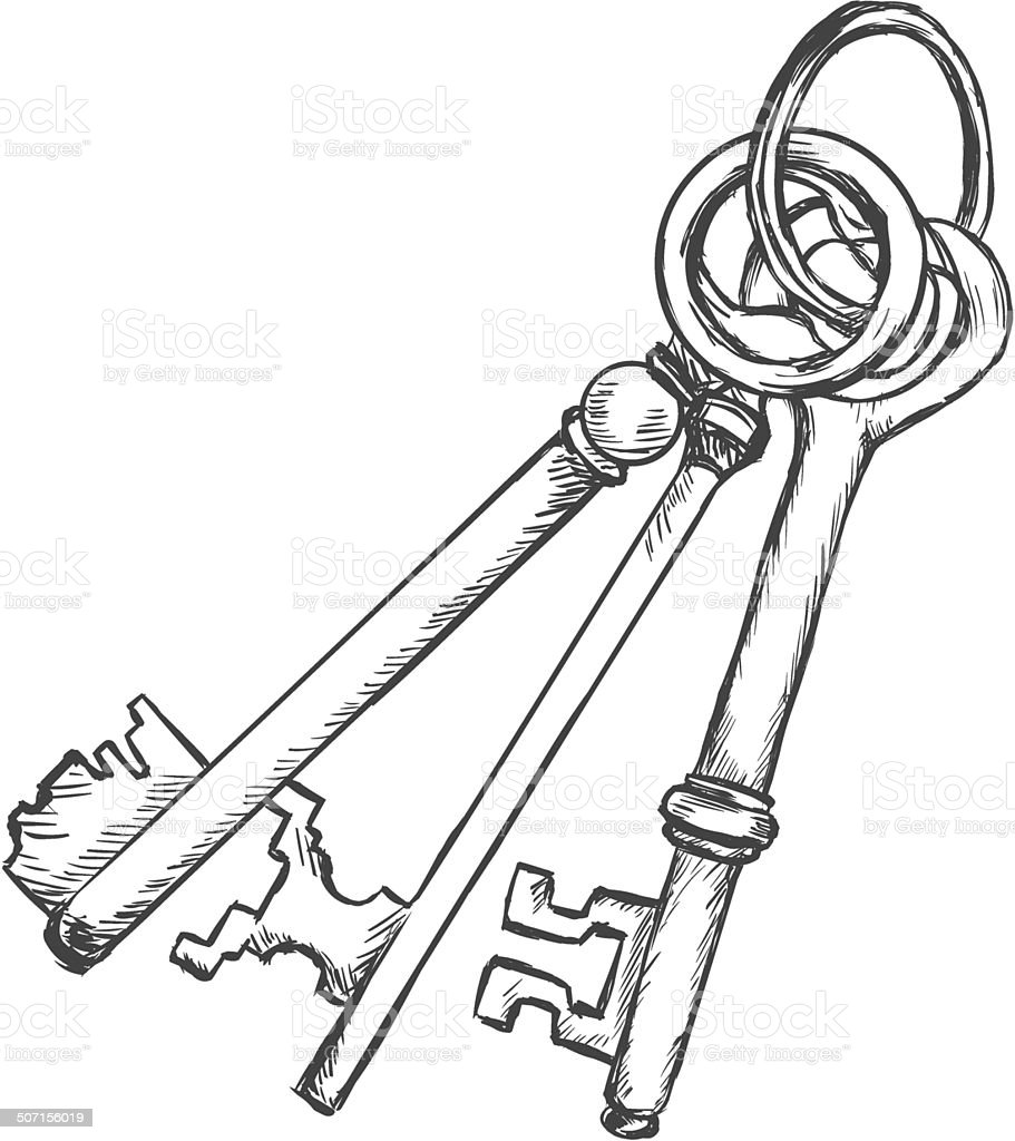 Line Art Key : Vector sketch bunch of three antique keys stock art
