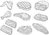 Vector sketch butchery meat chicken icons