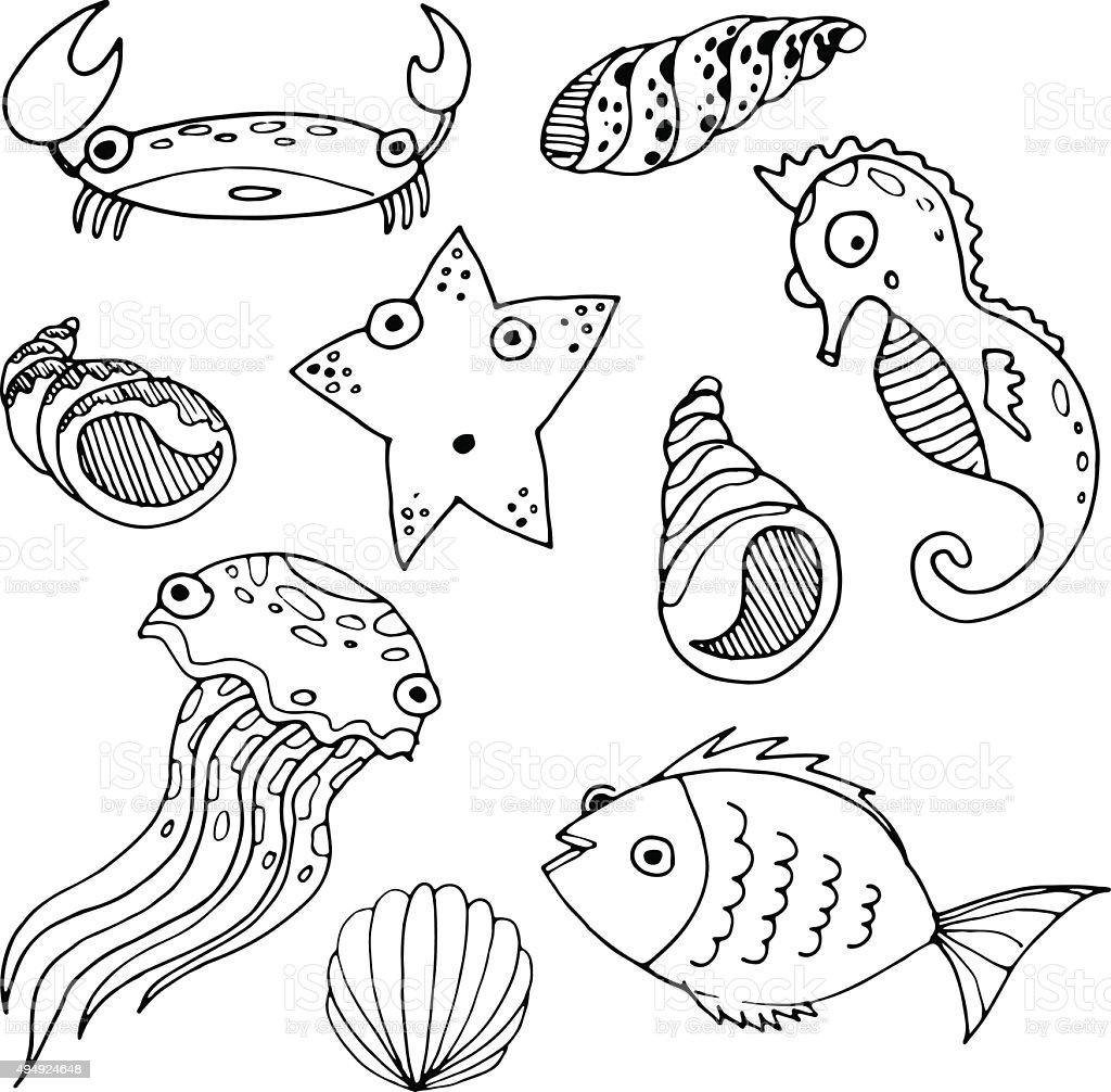 Vector Sketch Cartoon Sea Animals Stock Vector Art & More ...