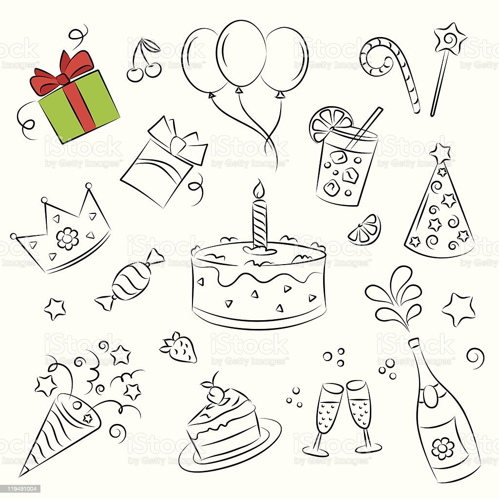 Vector Sketch Clipart Set Birthday Party Royalty Free