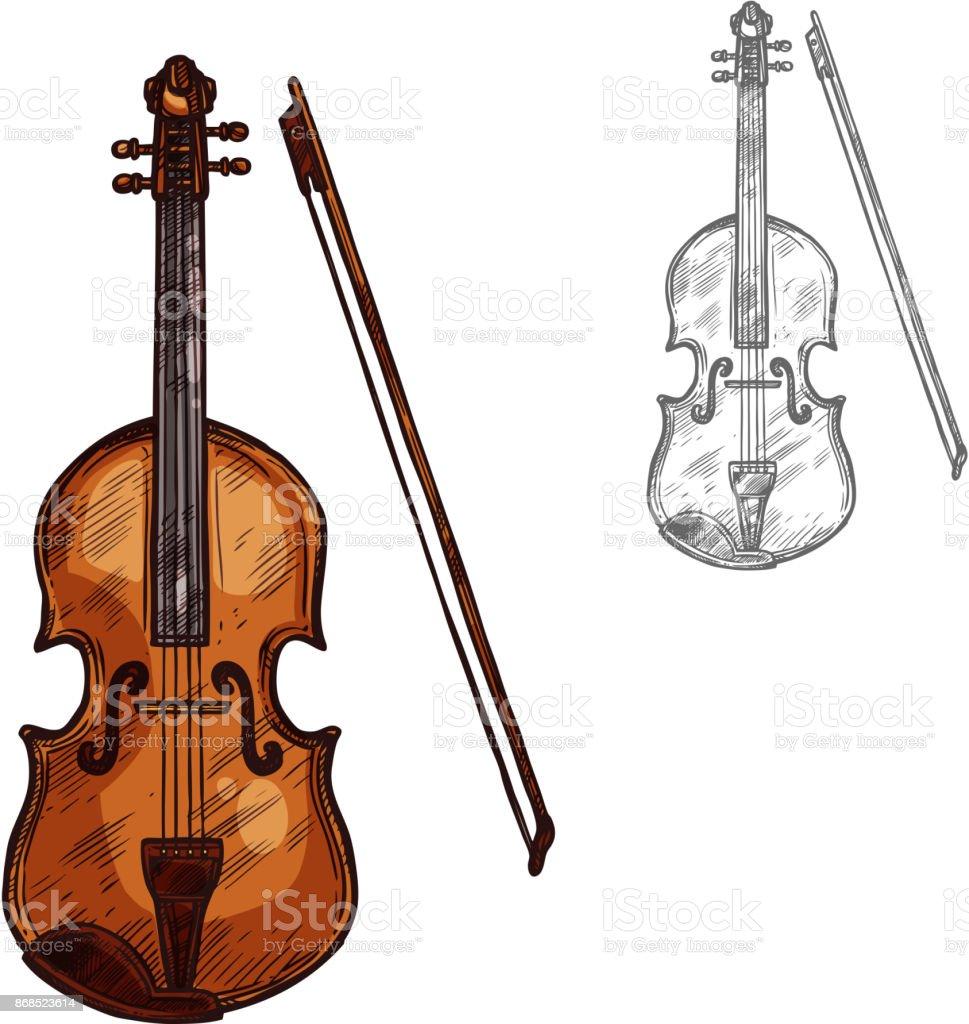 Vector sketch contrabass violin music instrument vector art illustration
