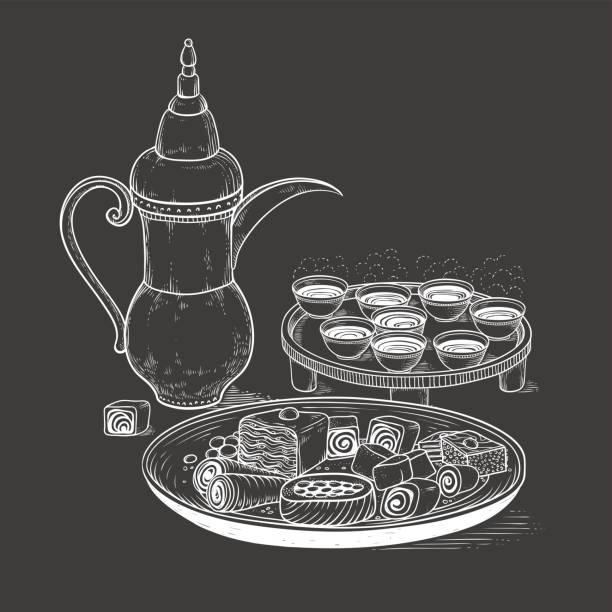 ilustrações de stock, clip art, desenhos animados e ícones de vector sketch drawing chalk on blackboard ethnic arabic cup and copper coffeepot, big plate east sweets. illustration black and white items of the coffee ceremony. engraving style - lapa