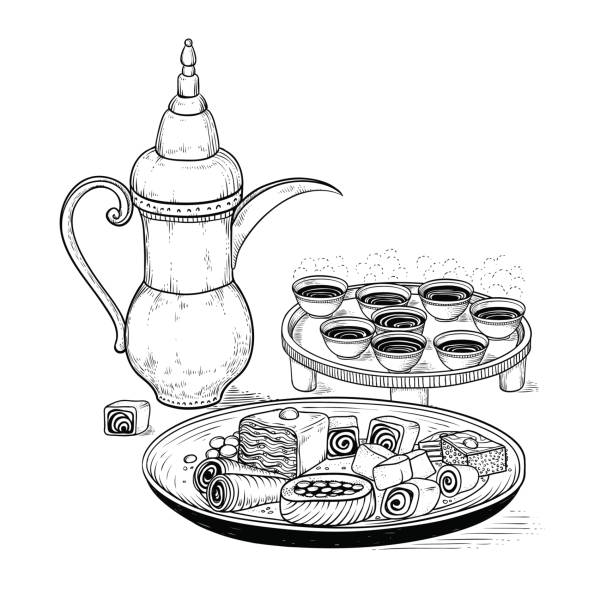 ilustrações de stock, clip art, desenhos animados e ícones de vector sketch drawing ethnic arabic cup and copper coffeepot, big plate east sweets. illustration black and white items of the coffee ceremony. engraving style - lapa