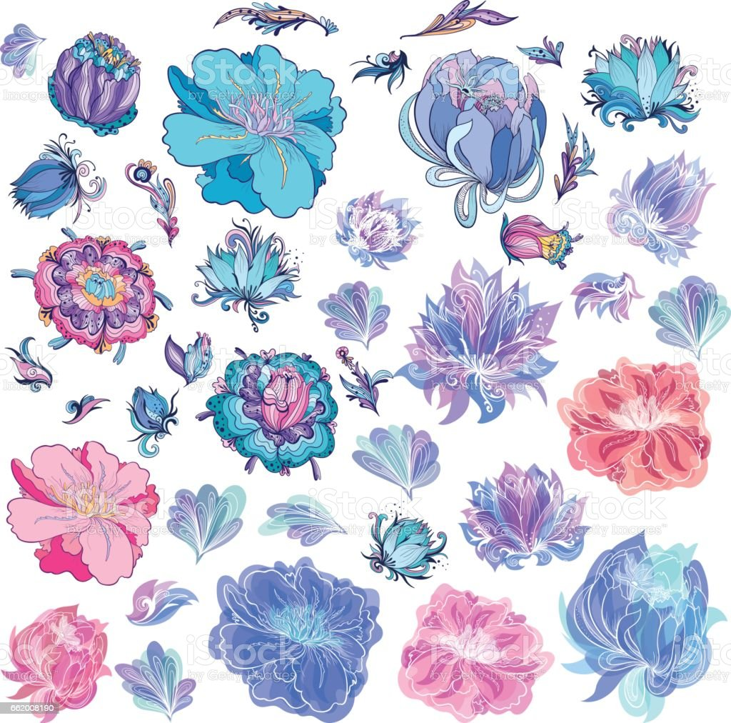 Vector Sketch Flowers vector art illustration
