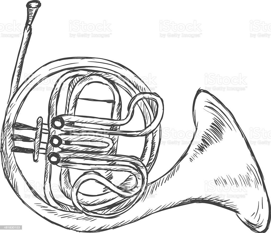 Vector Sketch French Horn Stock Vector Art & More Images