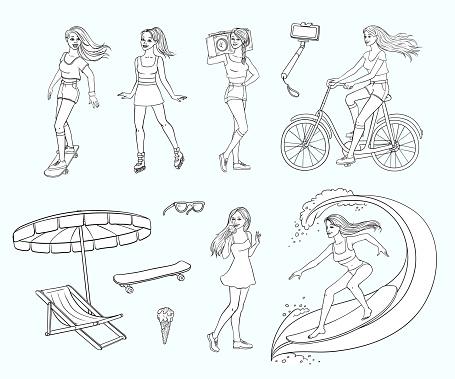 Vector sketch girls summer leisure activity set