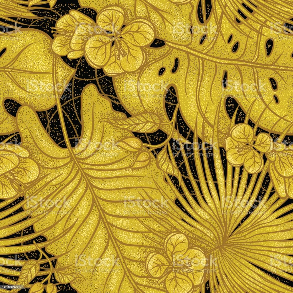 Vector sketch golden texture botanical seamless pattern. Gold shiny leaves of tropical plants, exotic flowers buds on black background. Graphic drawing goldish herb and vegetation monsoon rainforest. vector art illustration