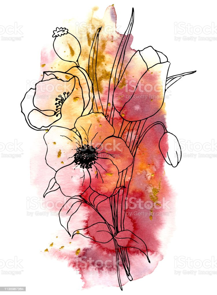 Vector sketch greenery and anemone bouquet. Hand painted flowers and...