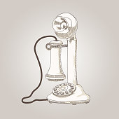 vector sketch hand drawing antique telephone