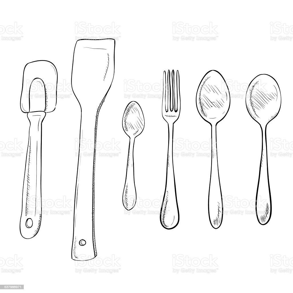 Vector sketch hand drawn of kitchen utensils vector art illustration