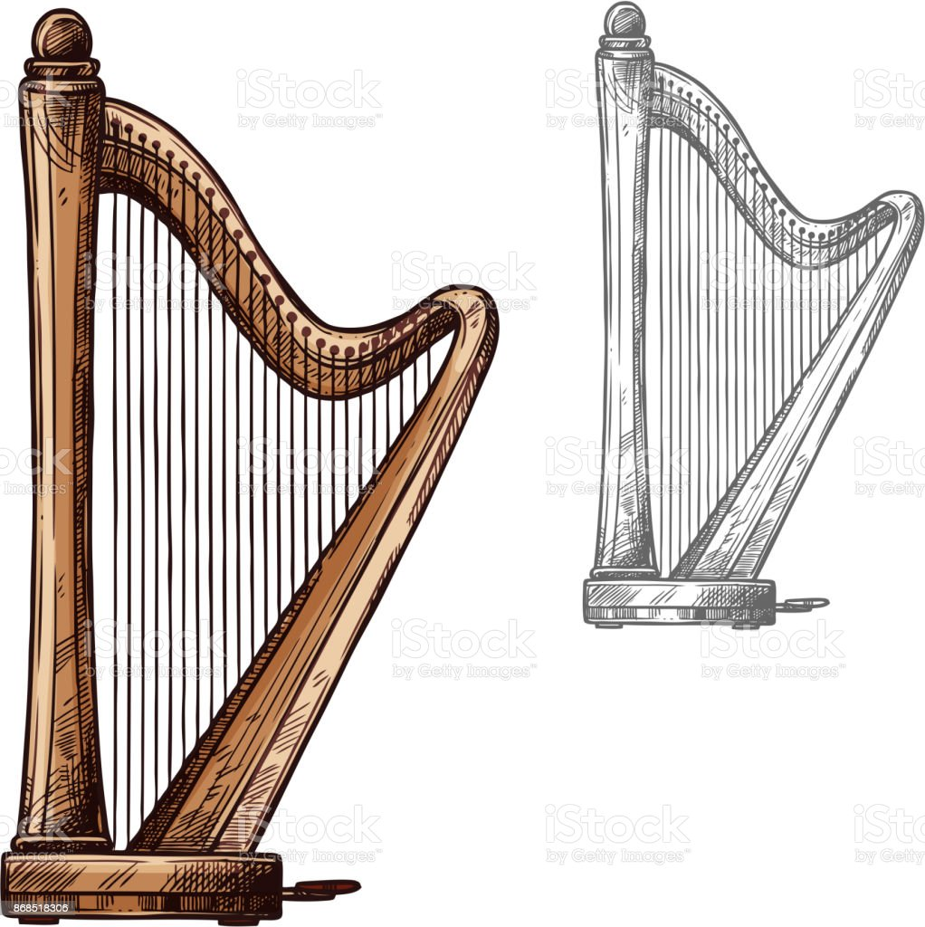 Vector sketch harp musical instrument icon vector art illustration