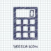 vector sketch icon of calculator