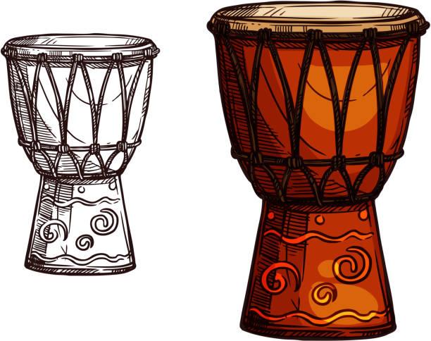 stockillustraties, clipart, cartoons en iconen met vector schets pictogram van trommel muziekinstrument - drum