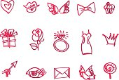 vector sketch  icon set for st Valentines day