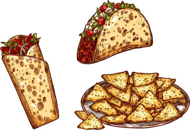 vector skizze symbole fast-food snacks tacos burrito - döner stock-grafiken, -clipart, -cartoons und -symbole