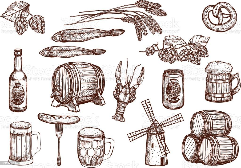 Botella De Cerveza Dibujo: Ilustración De Iconos De Dibujo Vectorial De Aperitivos